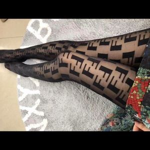 Fendi logo black tights one size
